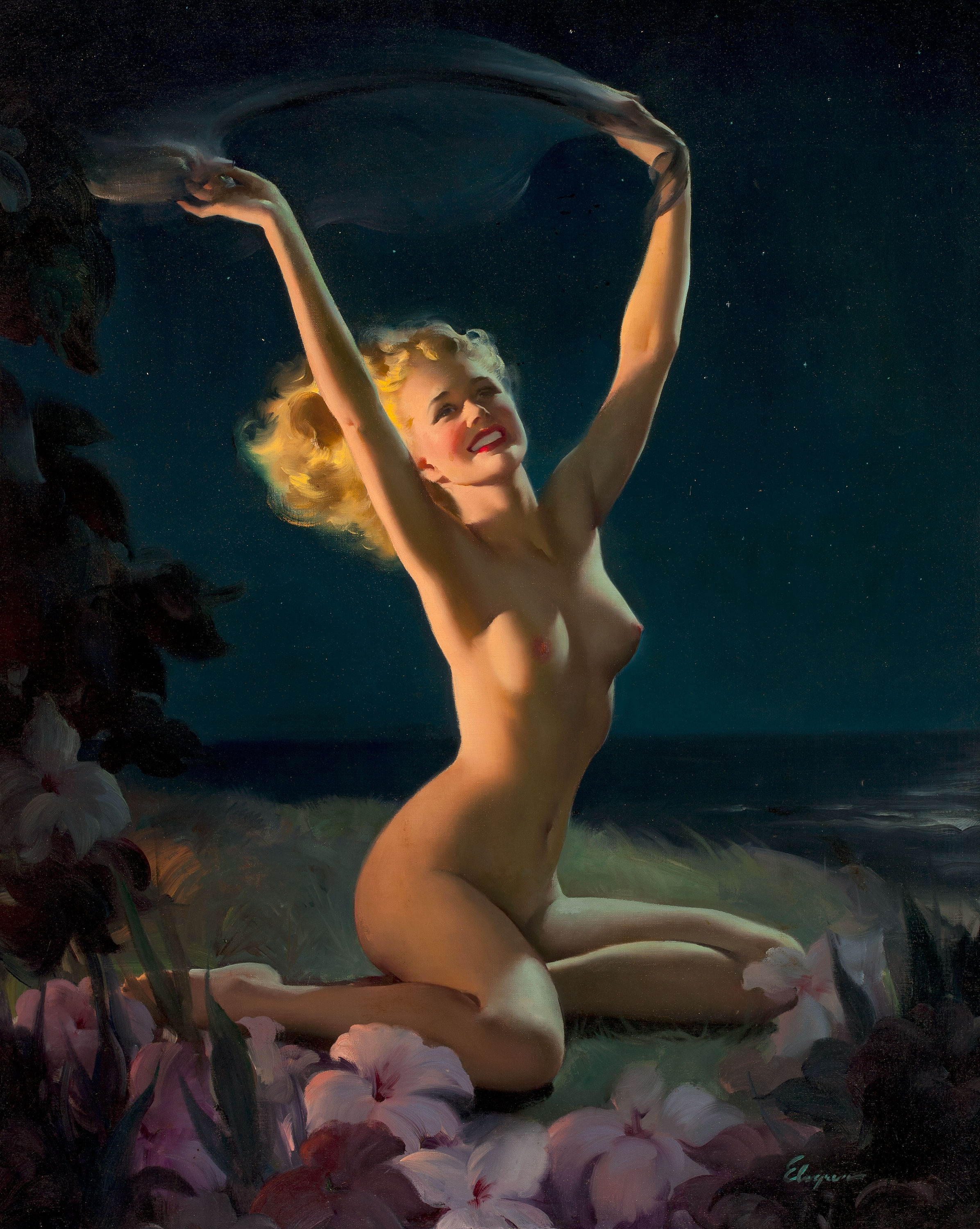 Gil Elvgren painting Gay Nymph, 1947, sold at Heritage Auctions in May, 2011 for $286,800