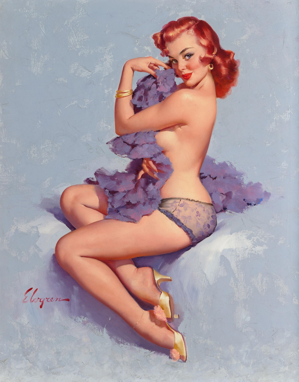 Gil Elvgren painting Roxanne, 1960, Heritage lot #71051