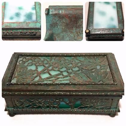 Tiffany Grapevine stamp box, marked