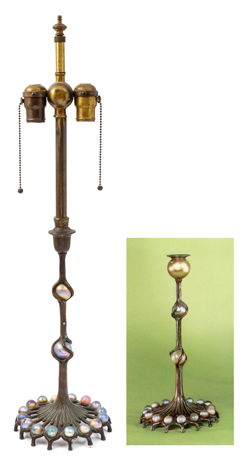 Left, Hindman lot #494. Right, the original candlestick.