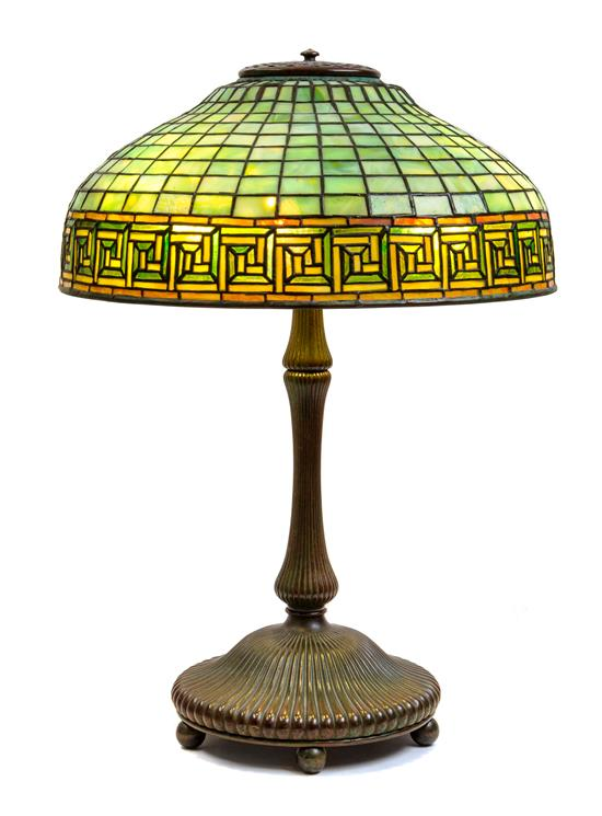 Tiffany Greek Key table lamp, Hindman lot #495