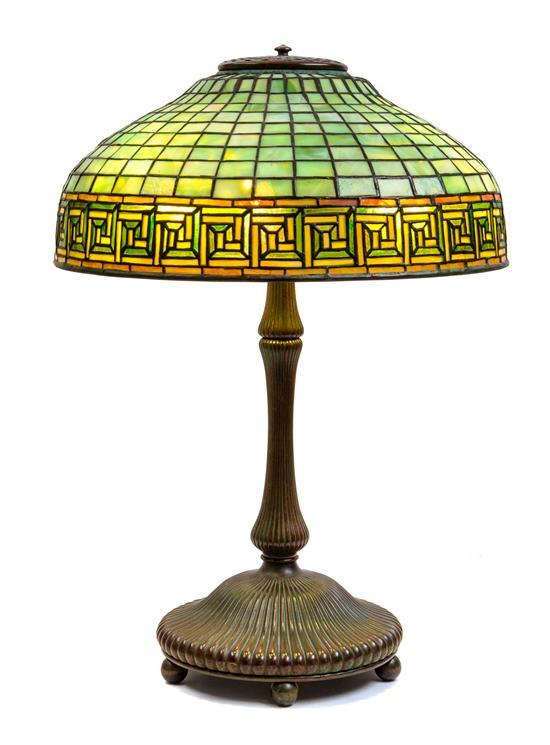 Tiffany Greek Key table lamp, Hindman lot #495
