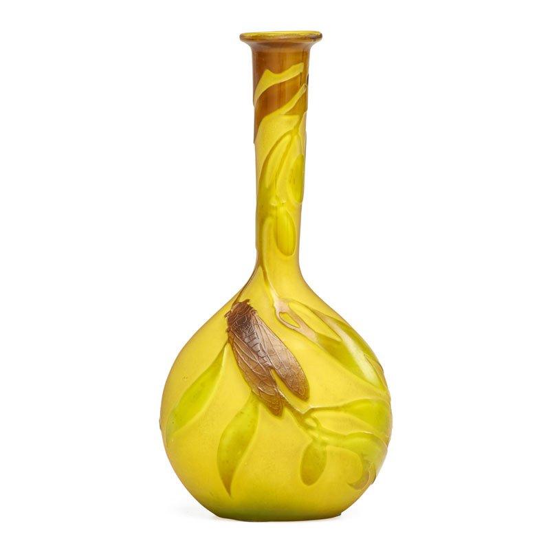 Gallé banjo vase with cicada, Rago lot #338