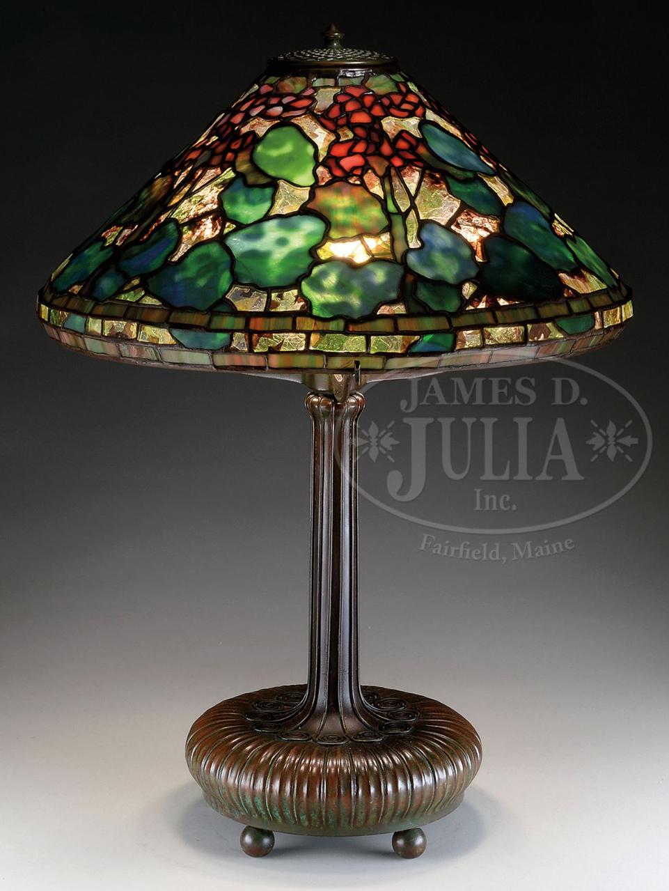 Tiffany Studios Geranium table lamp, Julia's lot #2005