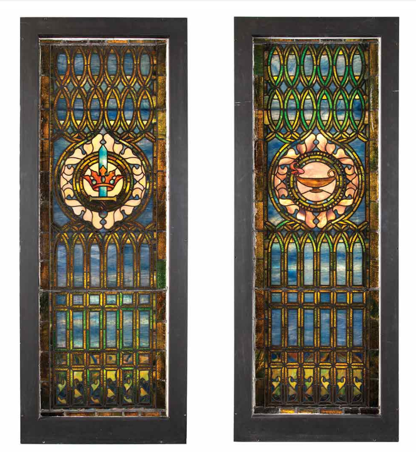 Pair of Tiffany Studios windows from the First Presbyterian Church of Hoboken, NJ, Doyle lot #482