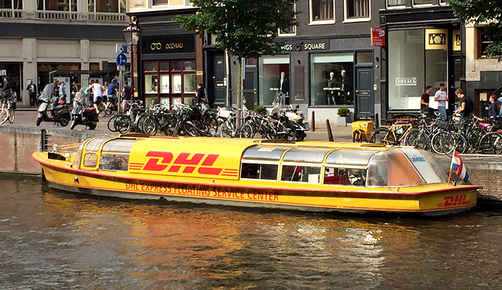 Pretty clever of DHL since the canals go most everywhere in Amsterdam