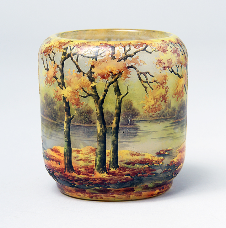 Superb mini Daum Nancy Fall scenic vase