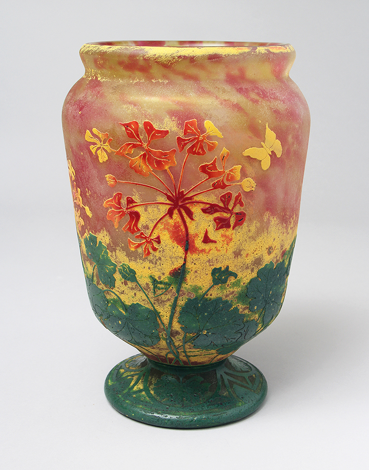 Wonderful Daum Nancy vitrified floral vase