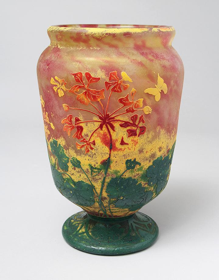 Wonderful Daum Nancy vitrified floral vase