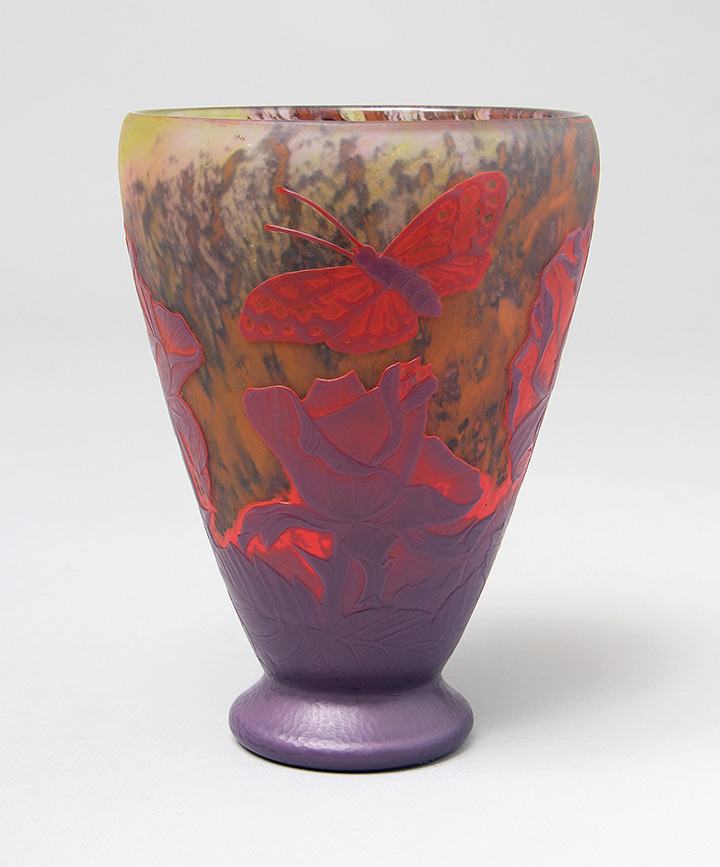Very rare Daum vase with wheel-carved roses and butterflies