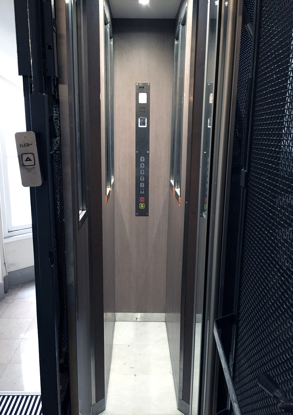 A one-person sideways elevator