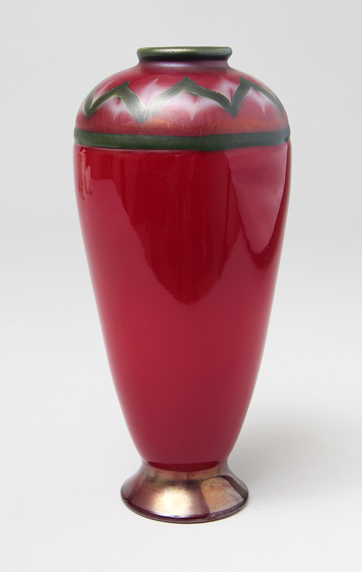 We sold this killer Tiffany Favrile red Tel el Amarna vase