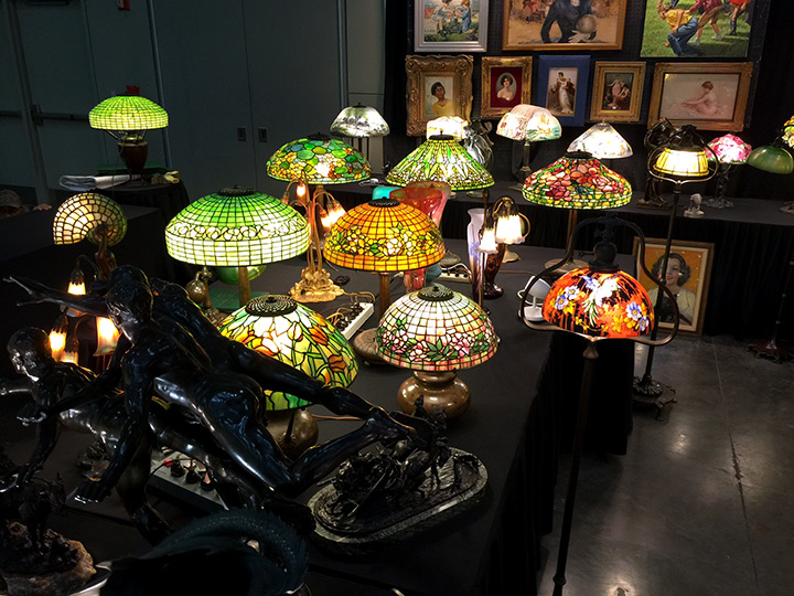 Part of the extensive display of Tiffany, Handel and Pairpoint lamps in our booth