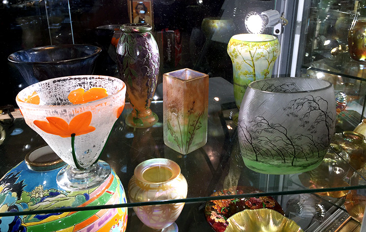 Some of the wonderful Daum Nancy vases that I bought at the show