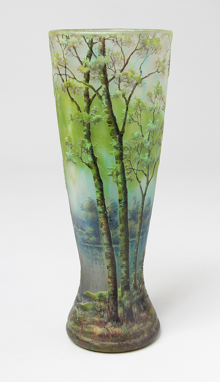 We'll be exhibiting his 10½-inch spectacular Daum scenic vase at the show