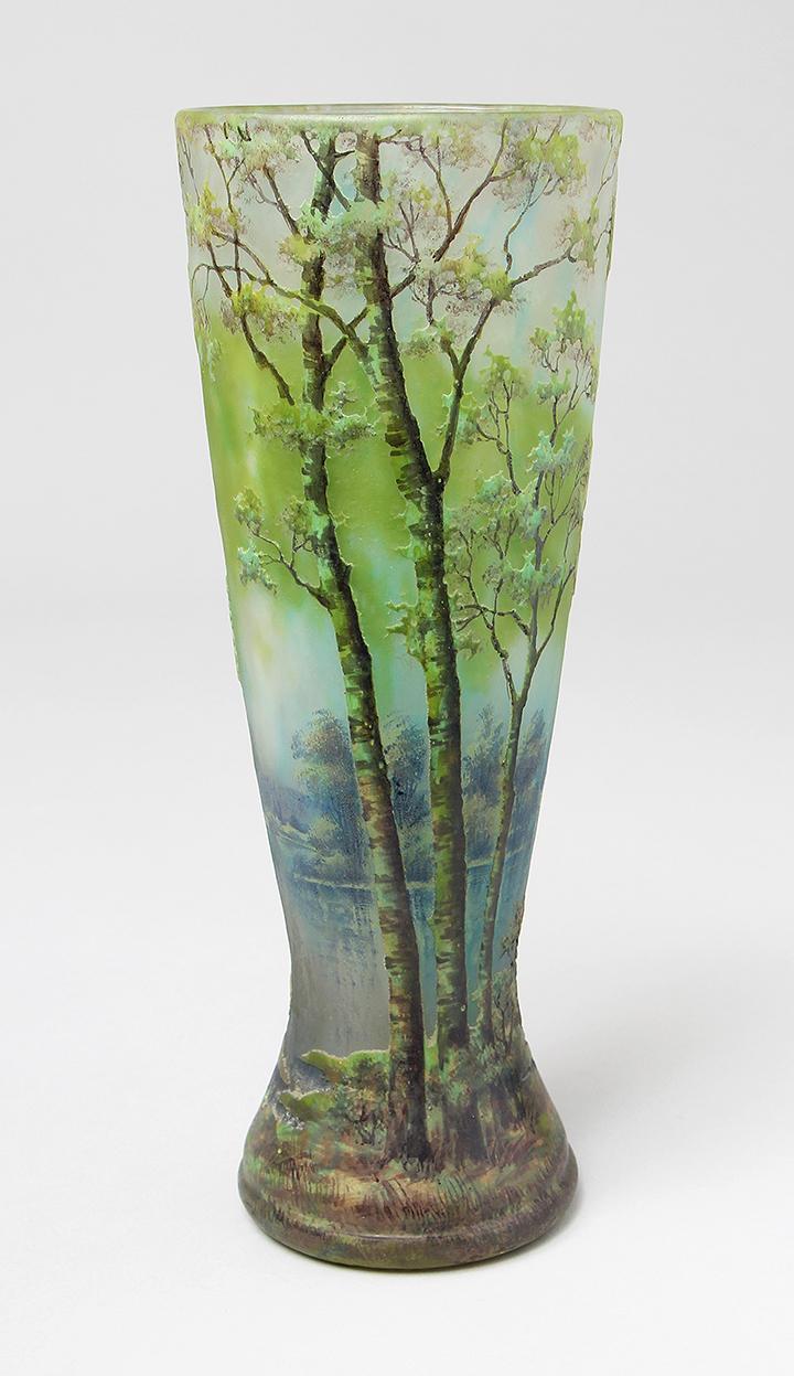 Spectacular 10½-inch Daum scenic vase