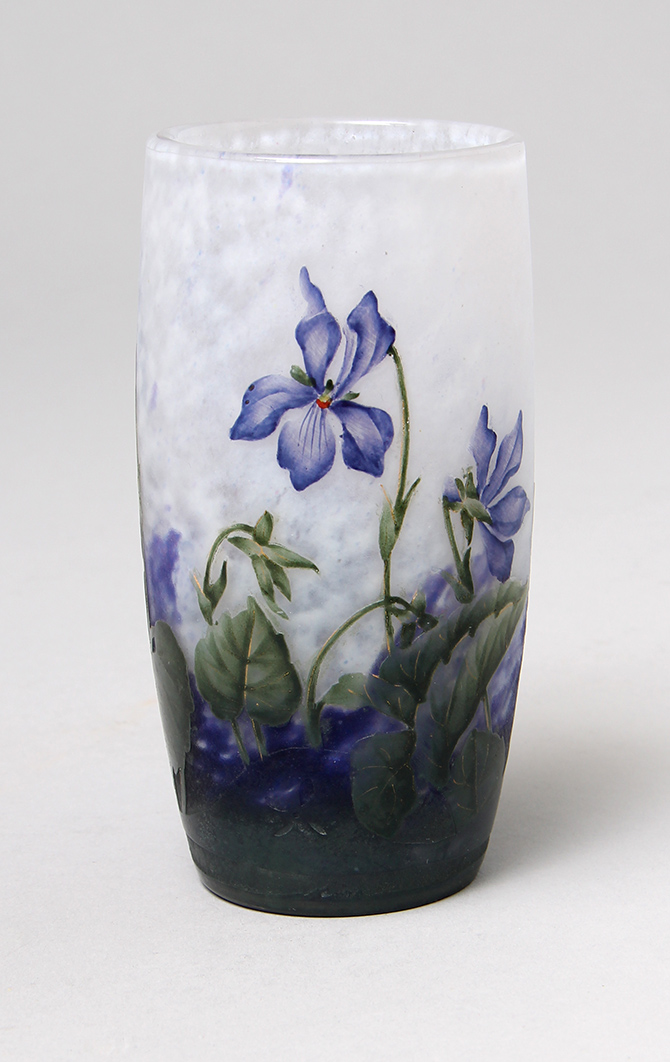 This Daum Violets tumbler has strong color and an original seller's sticker from Majorelle on the underside
