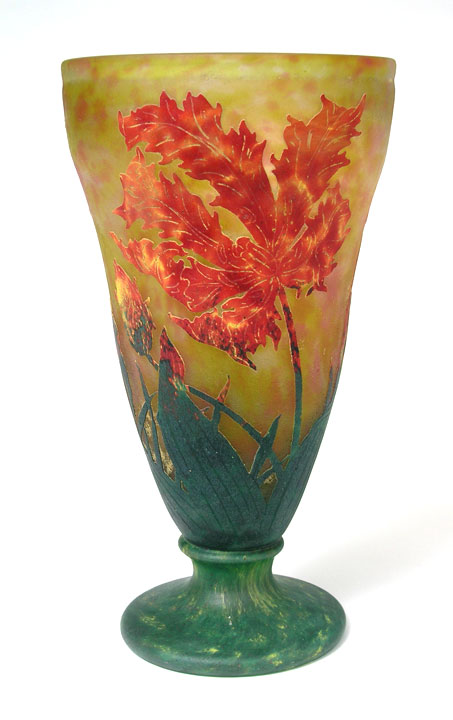 A large Daum vase with this same Parrot Tulip decoration should be arriving today or tomorrow