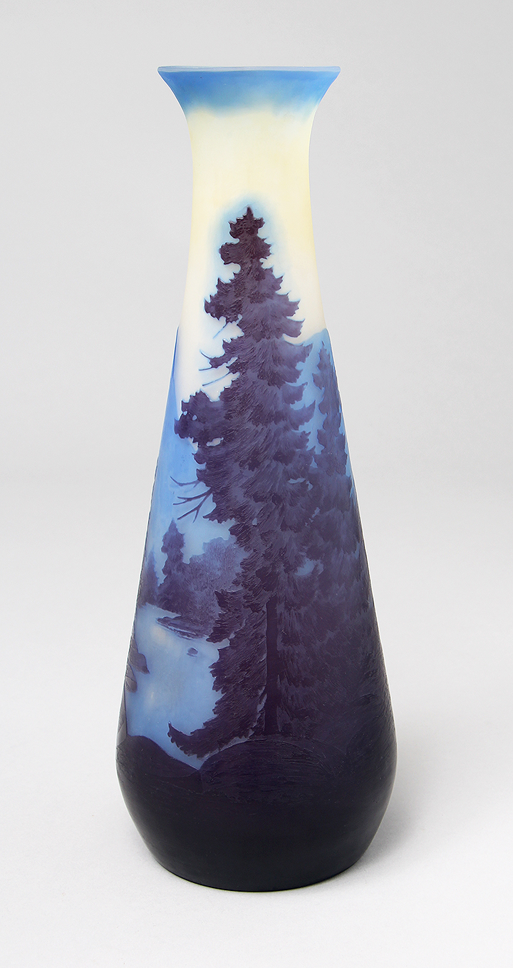 12-inch Gallé scenic vase with extraordinary color