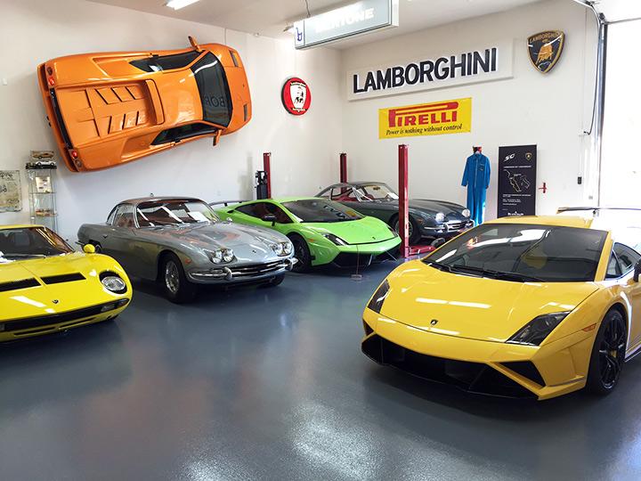 The Lamborghini section of John's shop