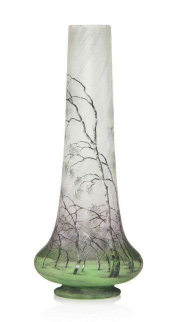 Daum Nancy Rain scenic vase, Christie's lot #201