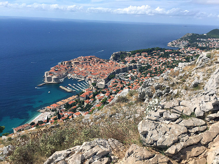 A view of the old city of Dubrovnik from the hill above