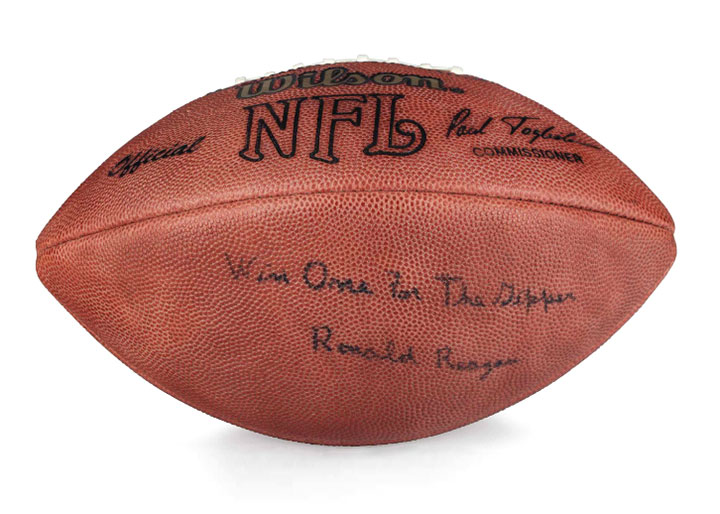 NFL football, with hand-signed quotation and signature, Christie's lot #100