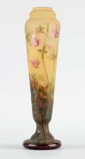 Monumental Daum Columbine vase, Horta lot #139