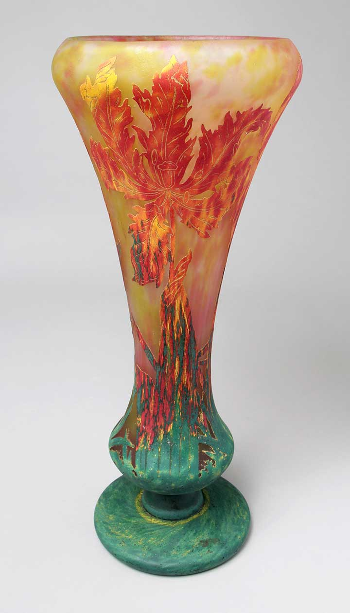 "We'll have this wonderful 19"" Daum Parrot Tulip vase at the show"