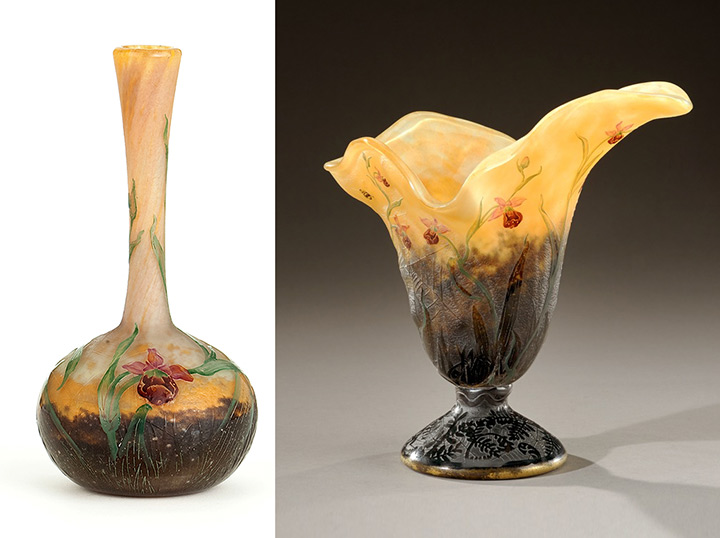 Both Daum vases have wild orchids and spider web decoration