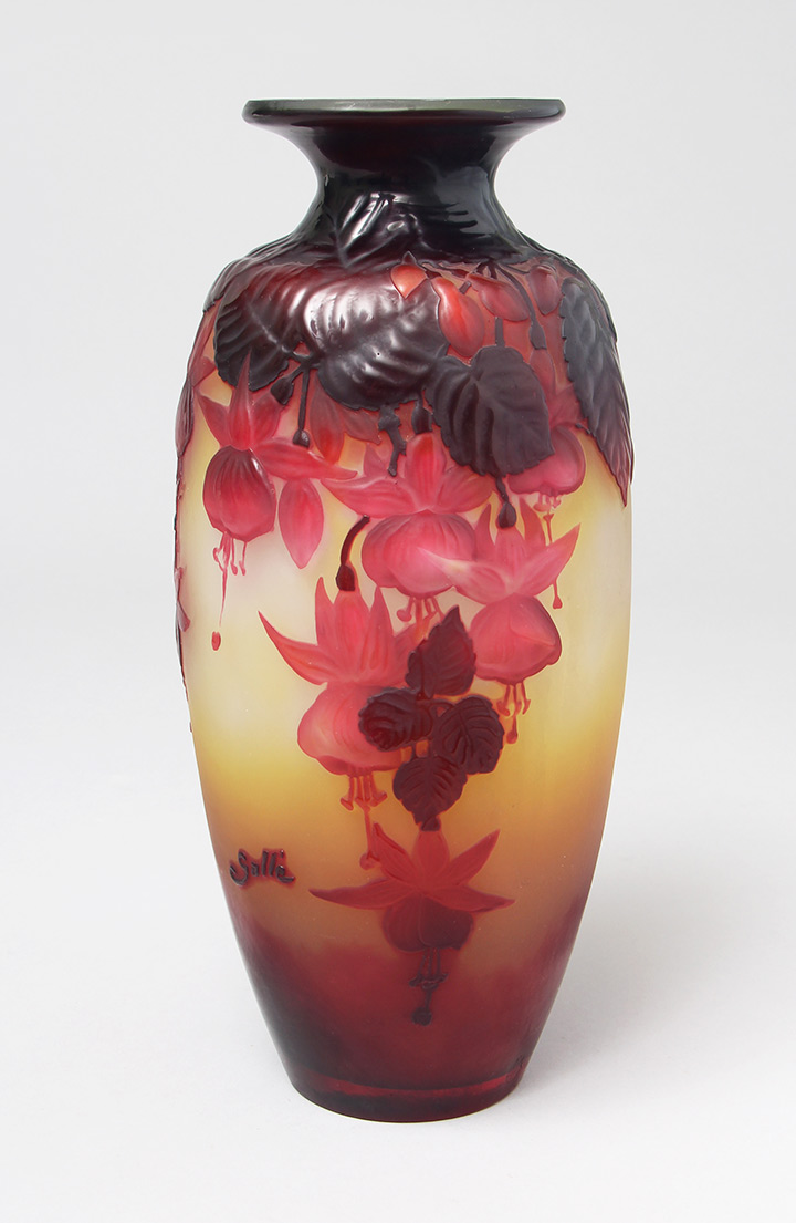 We sold this beautiful Gallé Fuchsia vase at the show