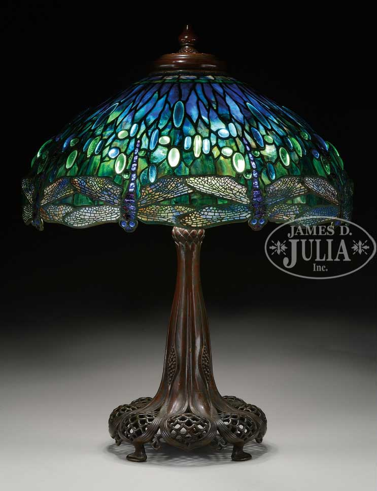 "Tiffany Studios 22"" diam. Drop Head Dragonfly table lamp, Julia lot #1259"