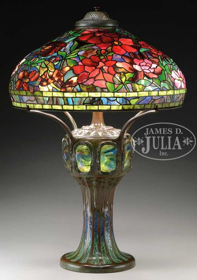 Lot 1216, a Tiffany Studios 22-inch Peony table lamp on a rare mosaic base sold for $394,605