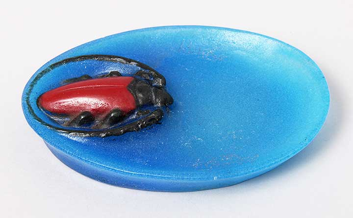 A. Walter pate-de-verre tray with beetle
