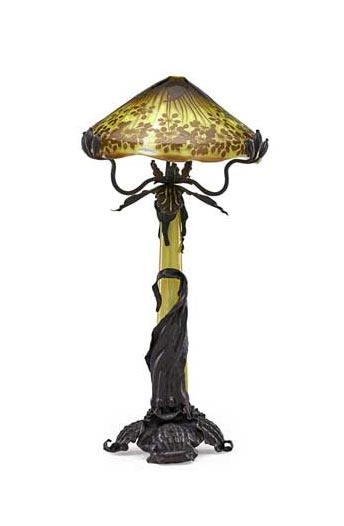 Gallé Allium table lamp, Rago lot #533