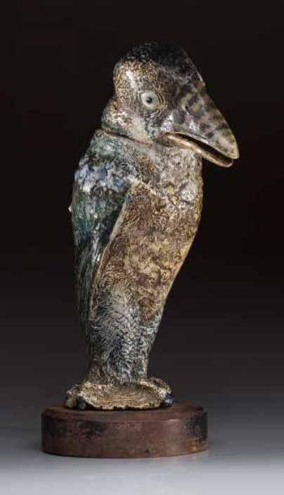 Monumental Martin Brothers bird tobacco jar, Wilkins lot #2109