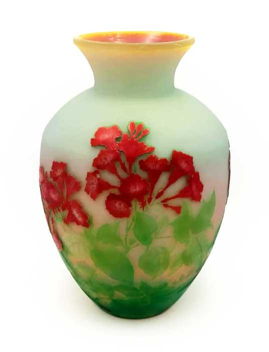 galle red floral bulbous vase
